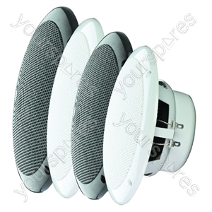"e-audio White 5"" Dual Cone Moisture Resistant Speakers (4 Ohms 80 W)"