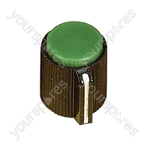 Black Ribbed Plastic Pointer Knob with Coloured Cap