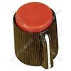 Black Ribbed Plastic Pointer Knob with Red Coloured Cap