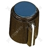 Black Ribbed Plastic Pointer Knob with Blue Coloured Cap