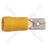 Yellow 6.3 mm Blade Crimp Terminal. Bags of 100