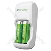 GP Batteries GPAR02BS210B-EW2 ReCyko Charger (2 x AA 2100 mAh Pre-Charged Batteries Included)
