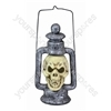Skull Lantern Halloween Decoration with Multi-Coloured LED Eyes and Carry Handle