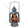 Pumpkin Lantern Hanging Decoration with Multi-Coloured LED Eyes and Carry Handle