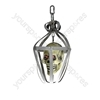 Caged Hanging Skull with Flashing LED Eyes