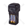 Black Plug In Battery Charger For Up To 4x AA Nicad Rechargeable Batteries.  Boxed