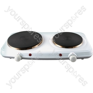 lloytron 2250W Double Hob with Cast Iron Hot Plates