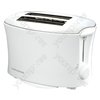 2 Slice Plastic Toaster in White