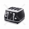 Icona 4 Slice Onyx Black Toaster