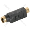 Adaptor, S-VHS plug to RCA socket, gold plated