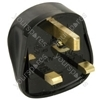 Rubber UK mains plug, 13A fuse, black