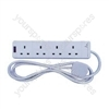 4-way extension lead, surge protection, 2.0m