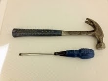 Hammer & flat screwdriver