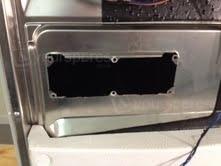 Soap dispenser outside door removed
